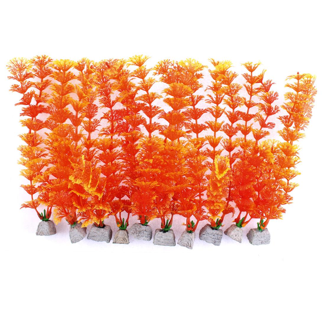 Aquarium Plastic Emulational Water Plant Grass Landscaping Orange 10 pcs