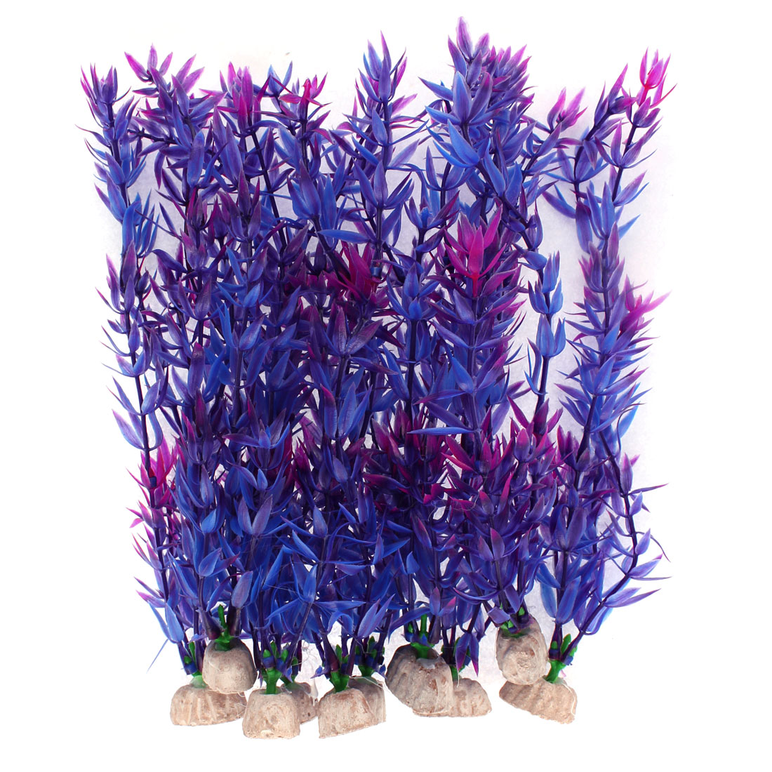 Aquarium Plastic Artificial Underwater Plant Purple Blue 10 Inch High 10pcs