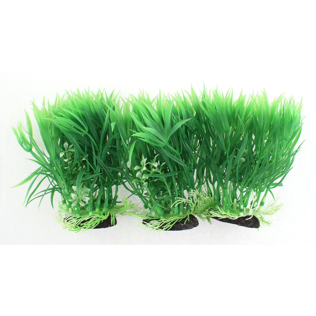 Fish Tank Aquarium Ceramic Base Plastic Imitated Water Plant Grass 14x15cm 3pcs