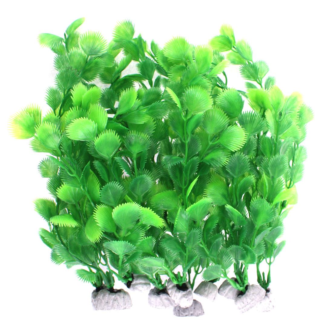 Plastic Manmade Water Plant Grass Green 25cm Height 10pcs for Aquarium