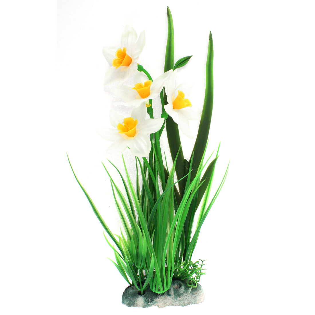 Aquarium Fishbowl Plastic Simulation Underwater Flower Grass Plant Green White