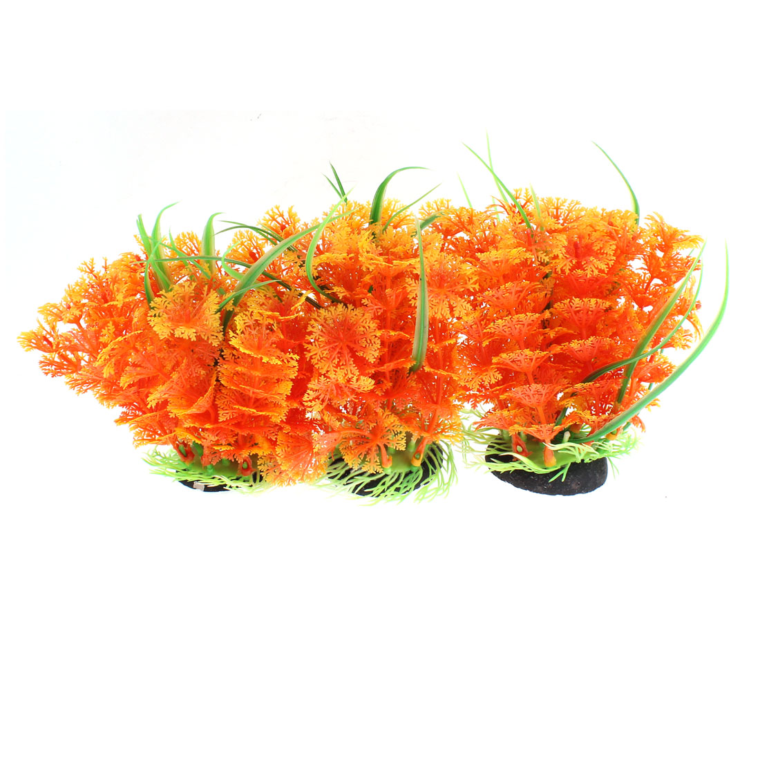 Aquarium Fish Tank Plastic Artificial Water Grass Plant Landscape Orange 3pcs