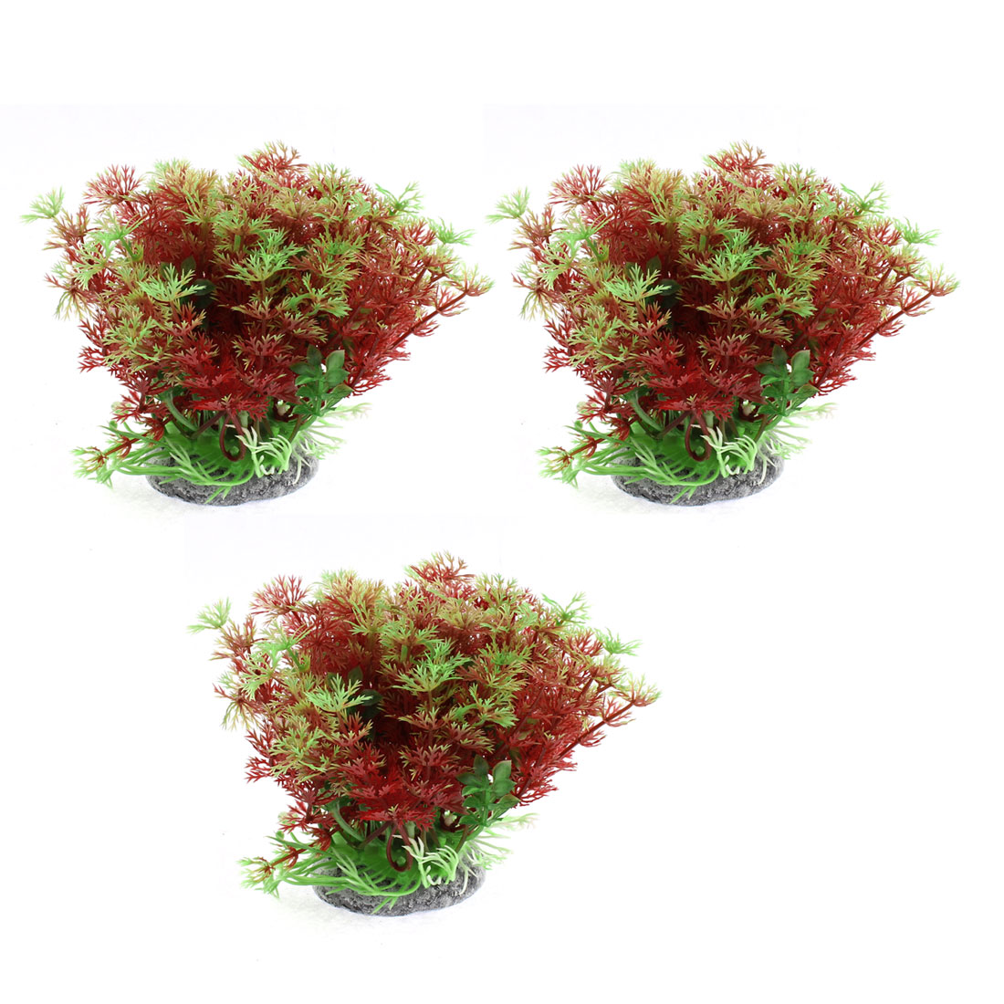 Fish Tank Fishbowl Water Plant Landscape Grass Red Green 10 x 16cm 3pcs