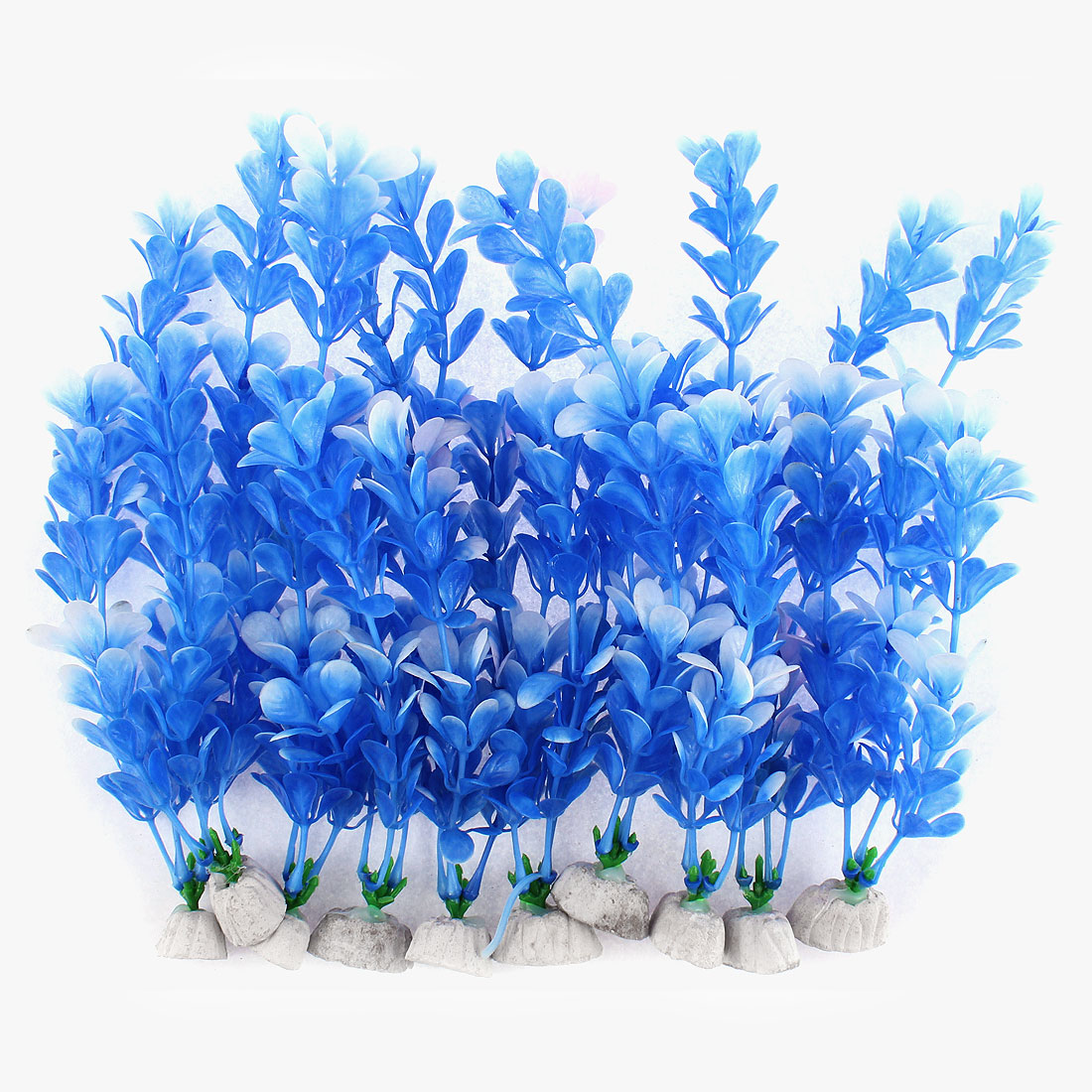 Aquarium Plastic Emulational Water Plant Grass Landscaping Blue 10 Pcs