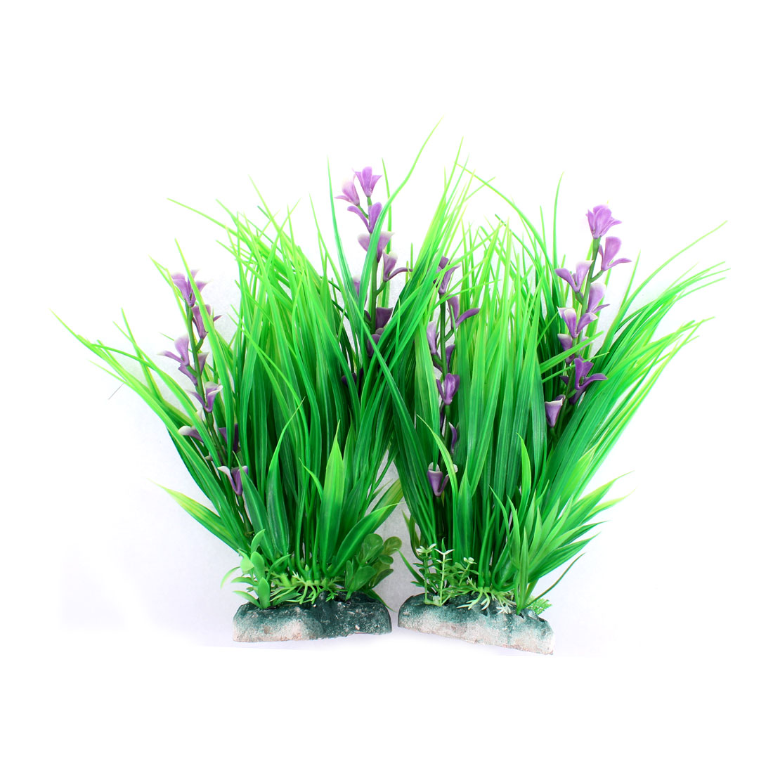 Aquarium Ceramic Base Emulational Underwater Plant Decor Green 26cm High 2pcs