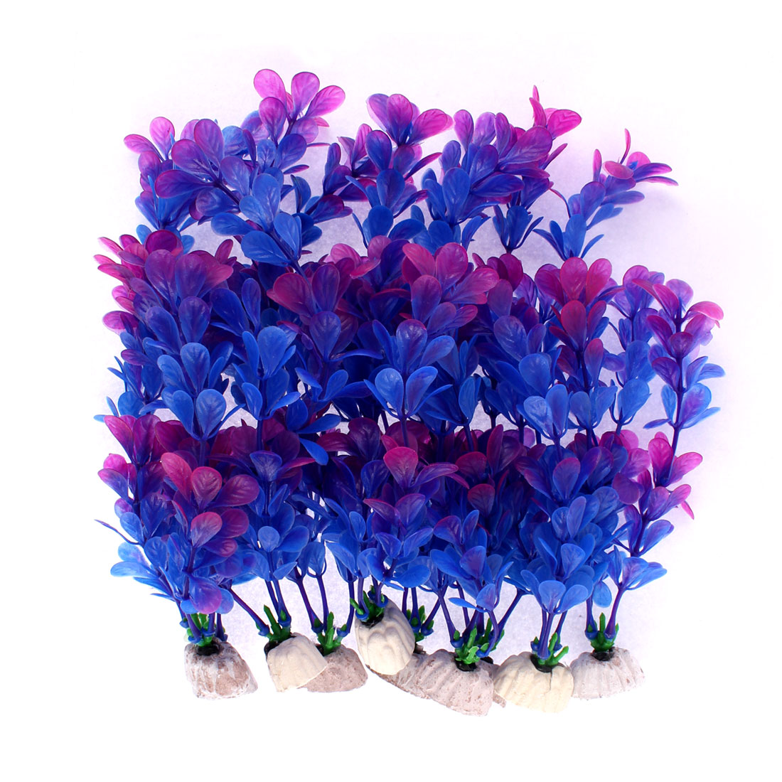 Aquarium Ceramic Base Plastic Plant Grass Ornament Purple Blue 10 Pcs
