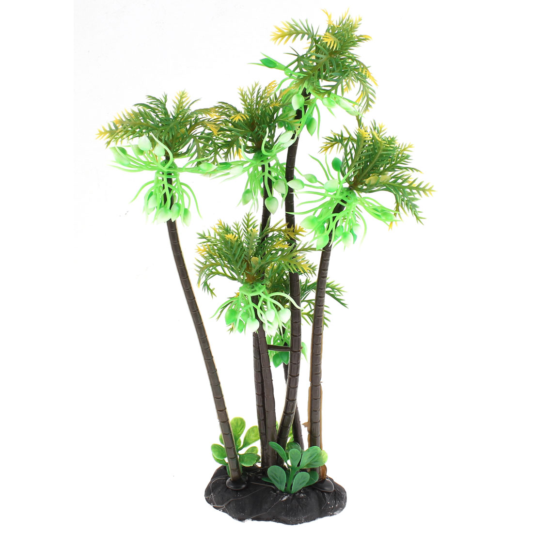 Aquarium Plastic Imitated Coconut Tree Plant Decoration 27cm High