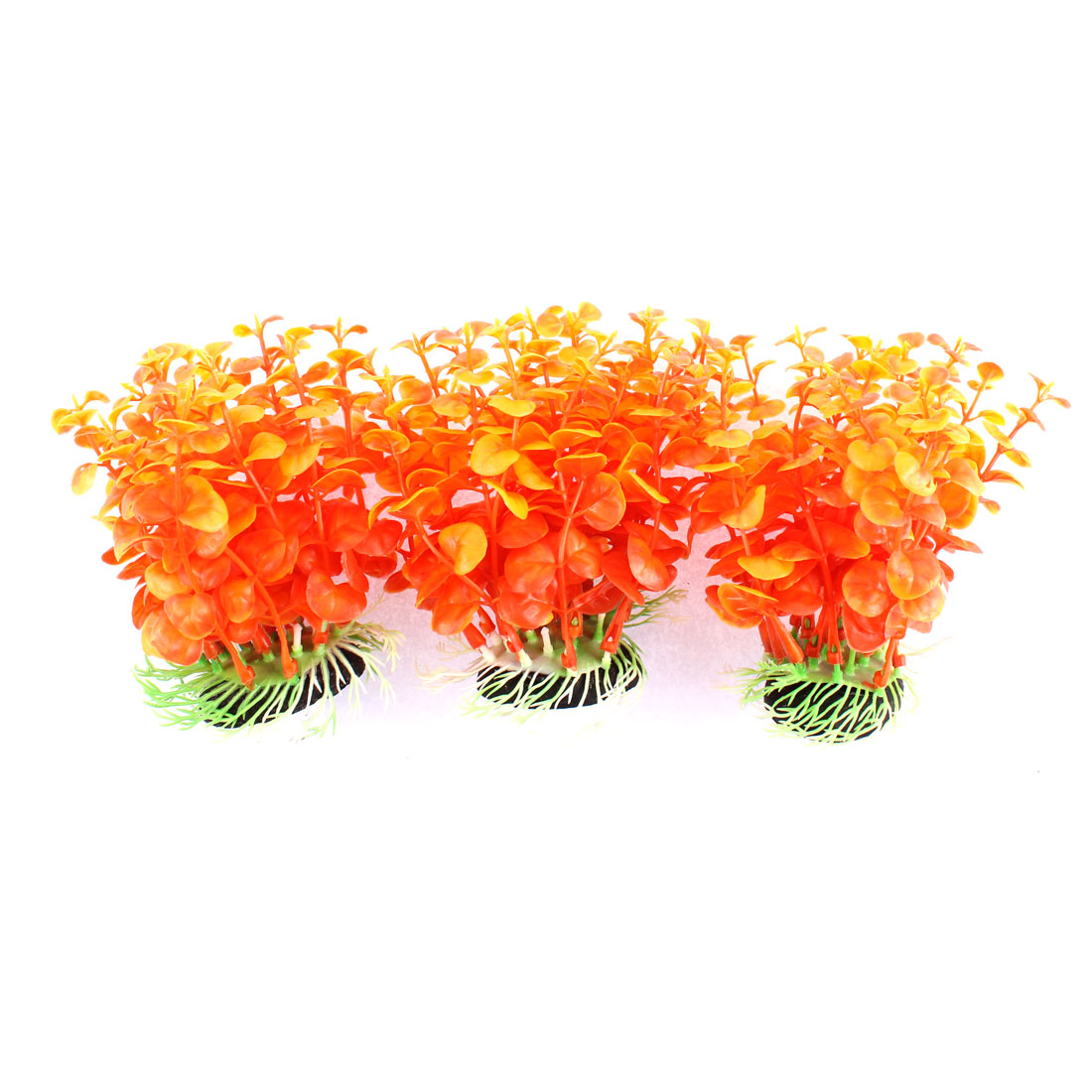 Aquarium Plastic Simulated Water Plant Grass Adorn Orangered 3 Pcs
