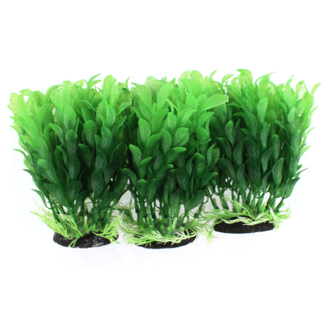 Aquarium Ceramic Base Plastic Simulated Water Plant Grass Ornament 3pcs