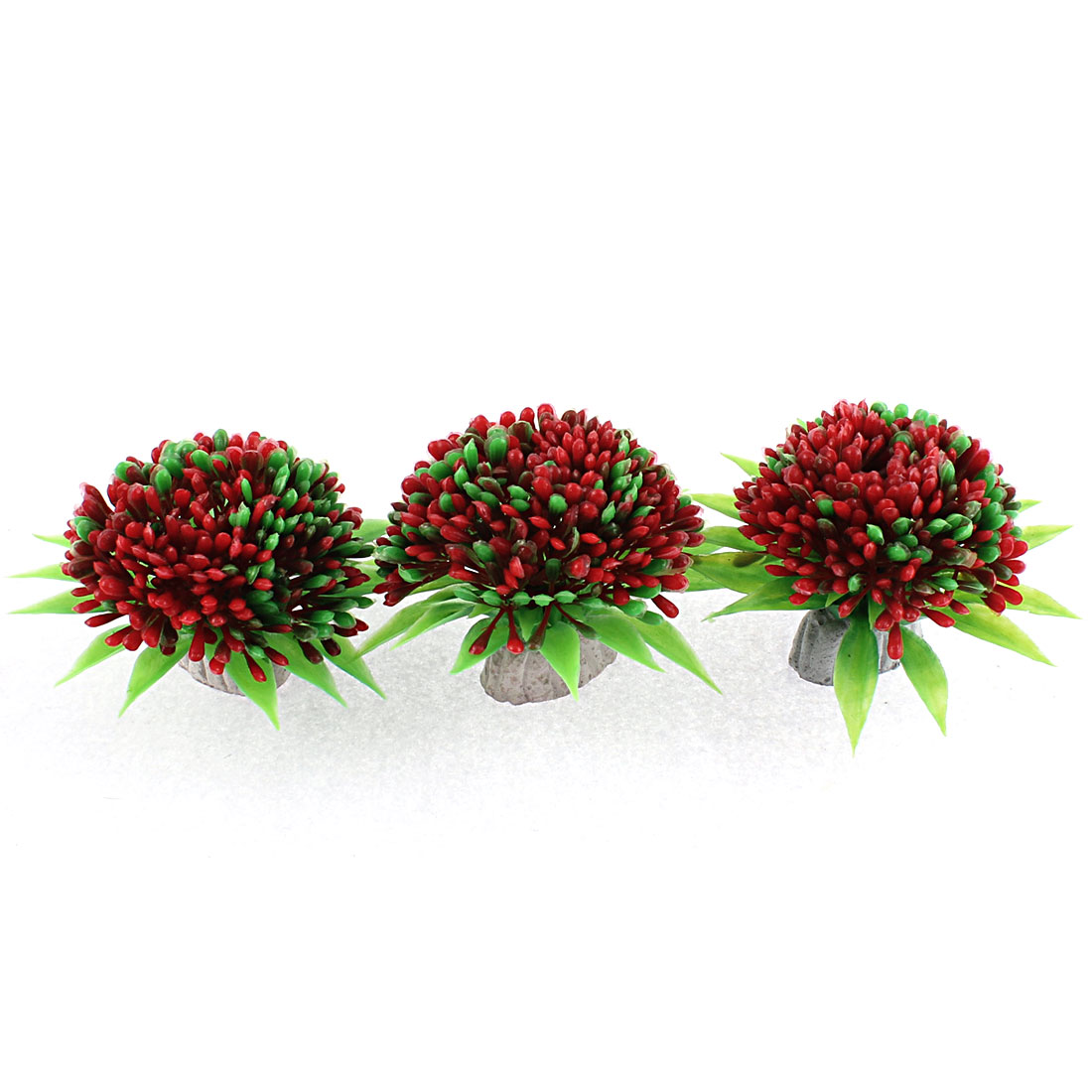 Artificial Plastic Water Plant Grass Red Green 8.5cm Dia 3 Pcs for Aquarium