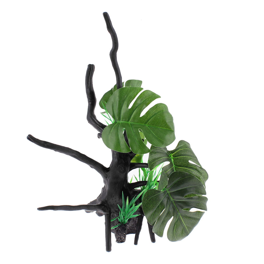 Aquarium Plastic Manmade Water Branch Tree Plant Decor 24.5cm Height