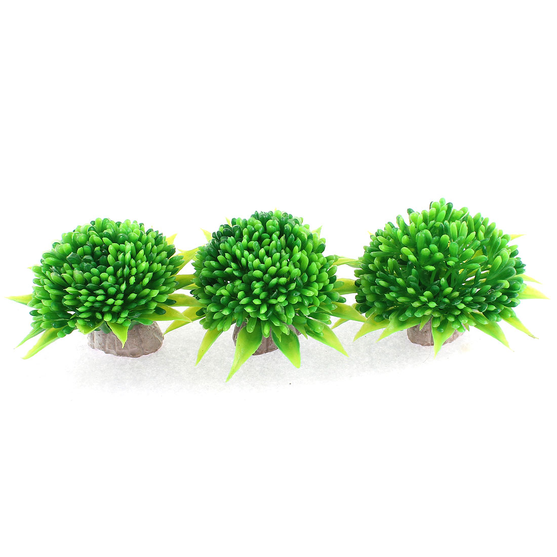Artificial Plastic Water Plant Grass Green 8.5cm Dia 3 Pcs for Aquarium