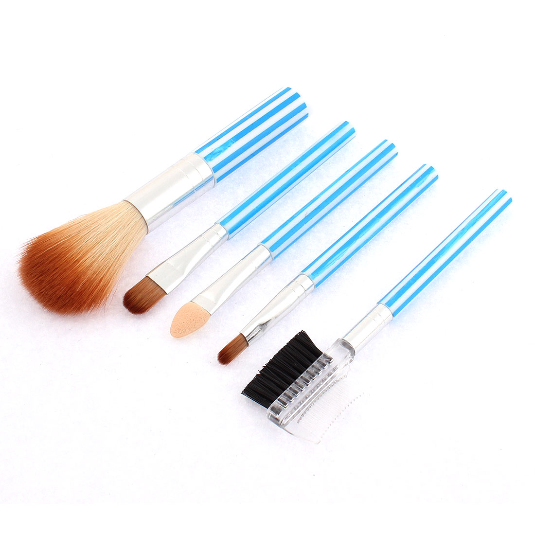 Woman Stripe Pattern Cosmetic Powder Eyeshadow Brow Brush Comb Blue 5 in 1