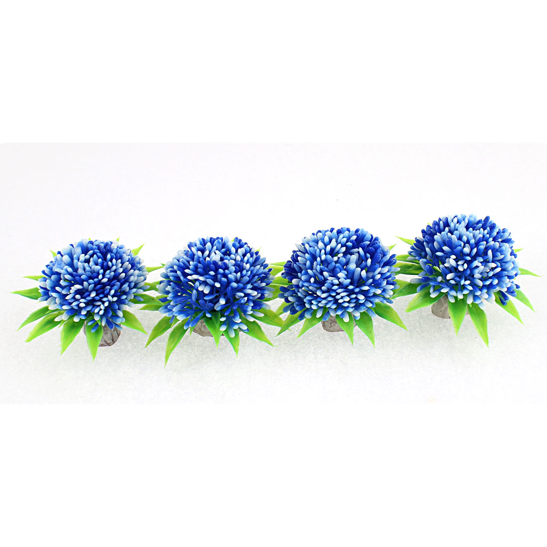 Aquarium Plastic Manmade Round Shaped Water Flower Plant Grass Decor 4 Pcs