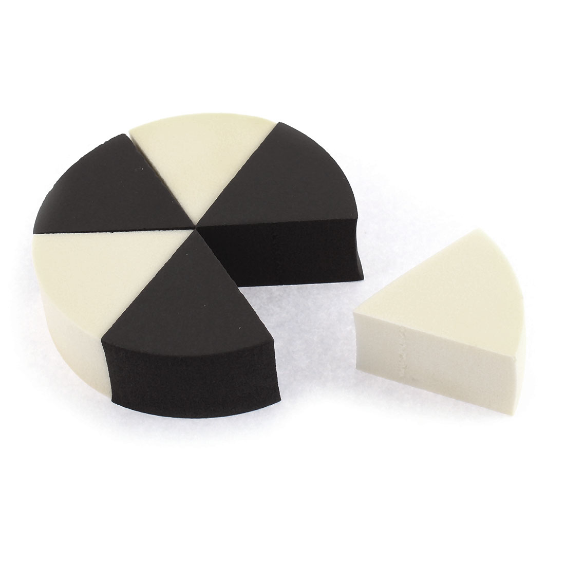 Lady Face Cleansing Washing Sponge Makeup Powder Puff Black Beige 6pcs
