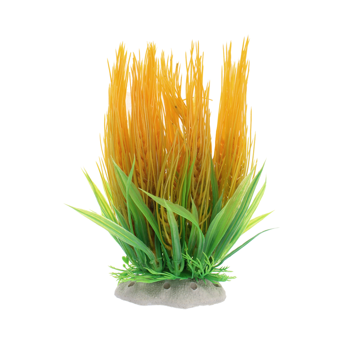Aquarium Plastic Artificial Water Plant Grass Landscaping Decor Yellow Green