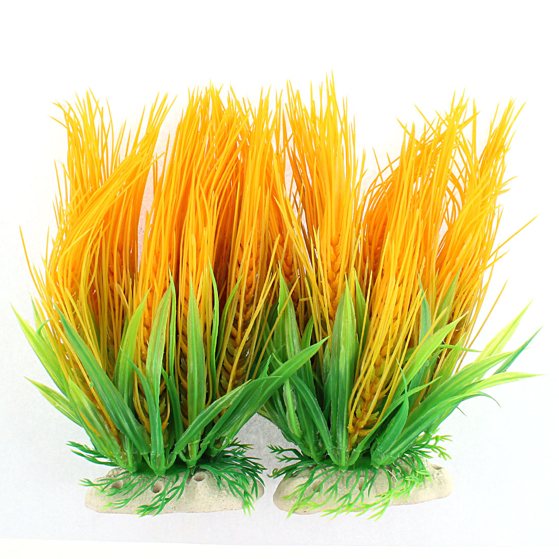 Aquarium Plastic Manmade Needle Shaped Grass Plant Decor Green Orange 2PCS
