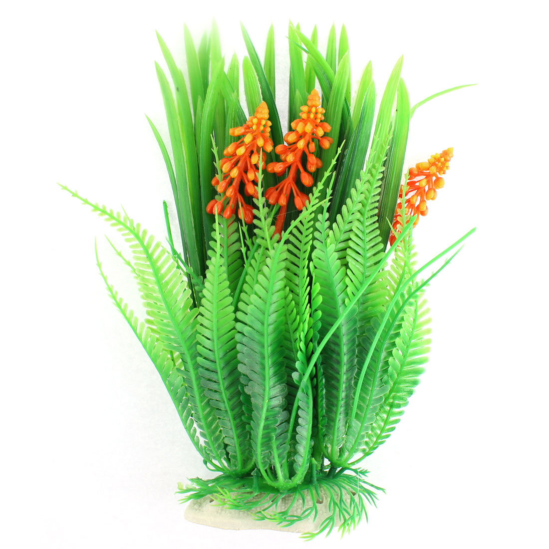 Aquarium Manmade Aquascaping Flower Spike Plant Decor Green Orange