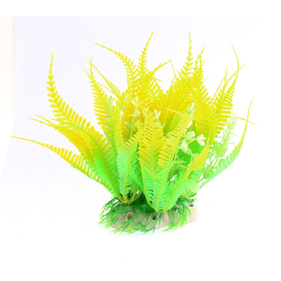 Aquarium Ceramic Base Plastic Simulation Water Plant Grass Ornament Yellow Green