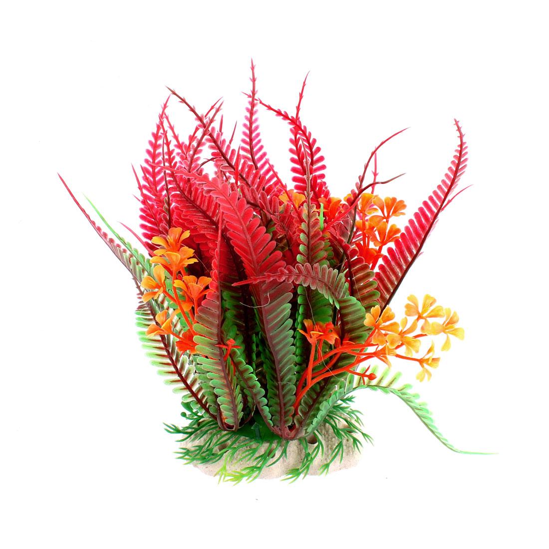 Aquarium Imitated Plastic Water Plant Grass Decoration Red Green 18.5cm High