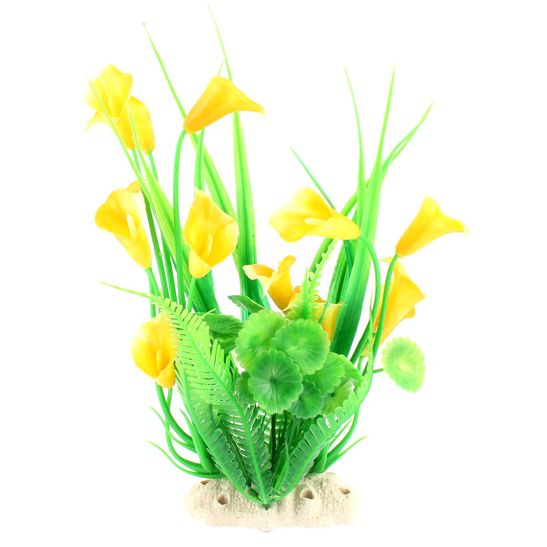 Imitated Plastic Water Plant Flower Grass Landscape Green Yellow for Fish Tank Aquarium
