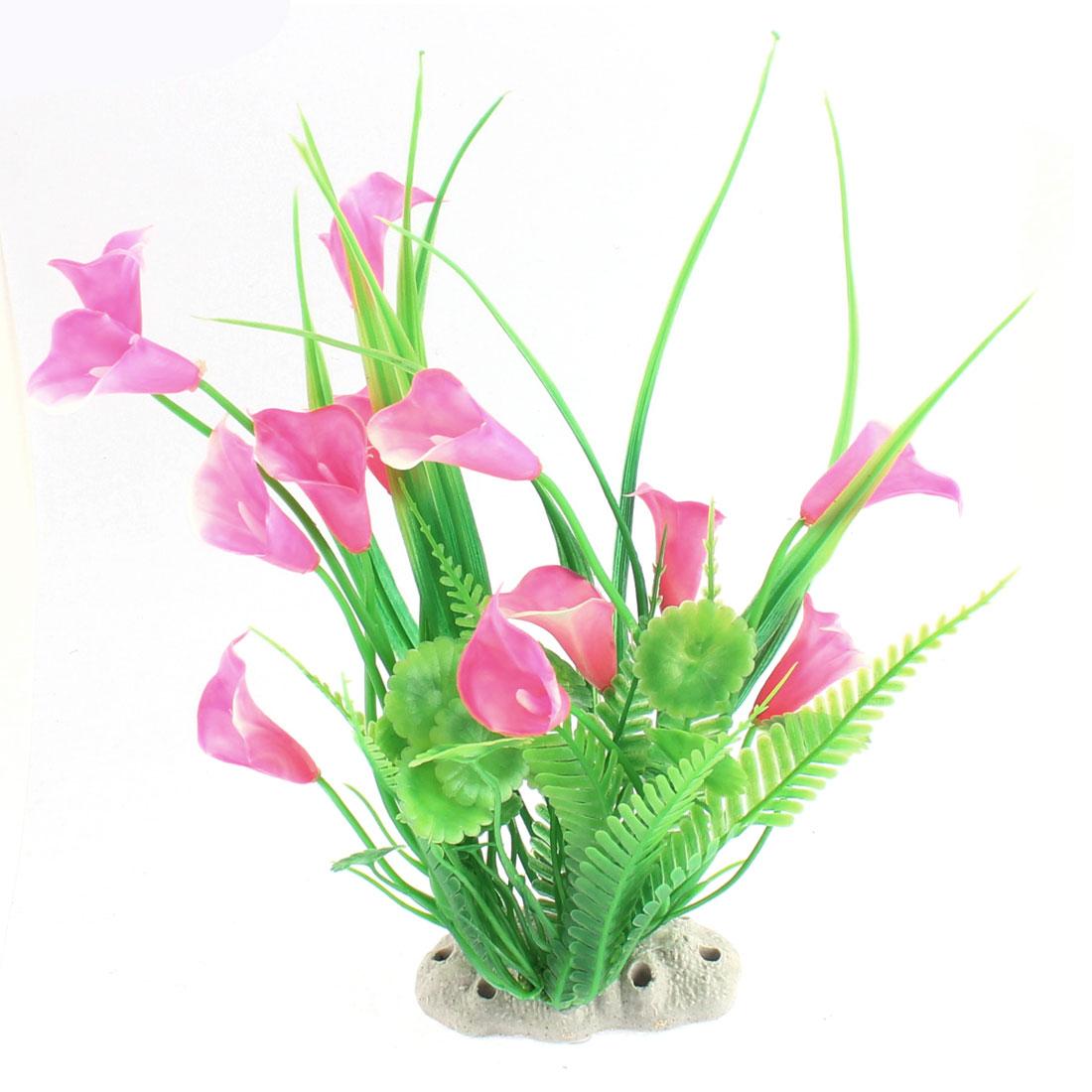 Imitated Plastic Water Plant Flower Grass Landscape Green Pink for Fish Tank Aquarium