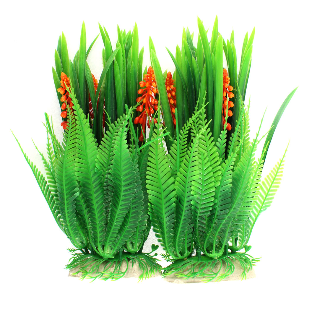 Fish Tank Aquarium Plastic Emulational Water Plant Grass Ornament 24cm Height 2pcs