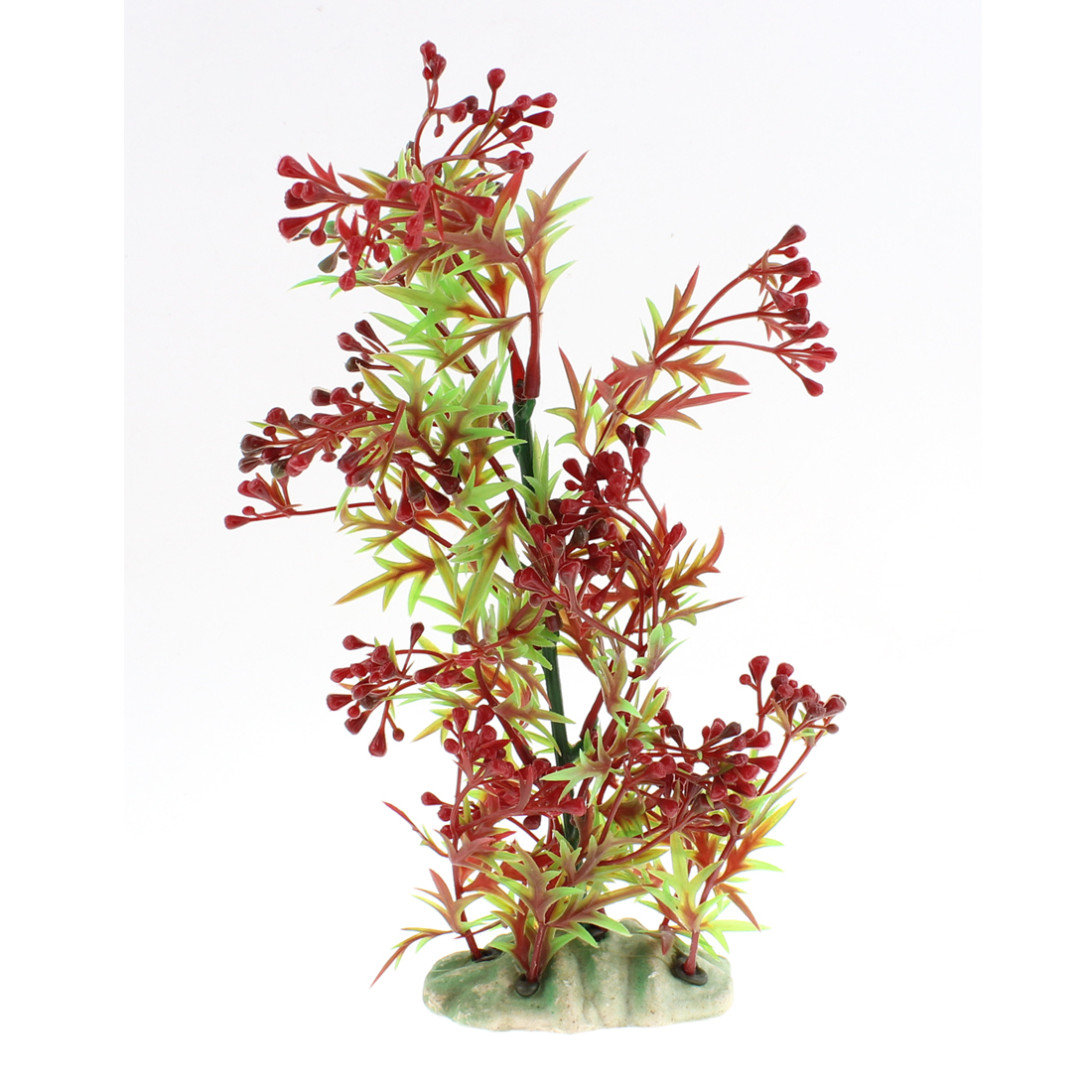Aquarium Plastic Artificial Landscaping Plant Decor Green Burgundy