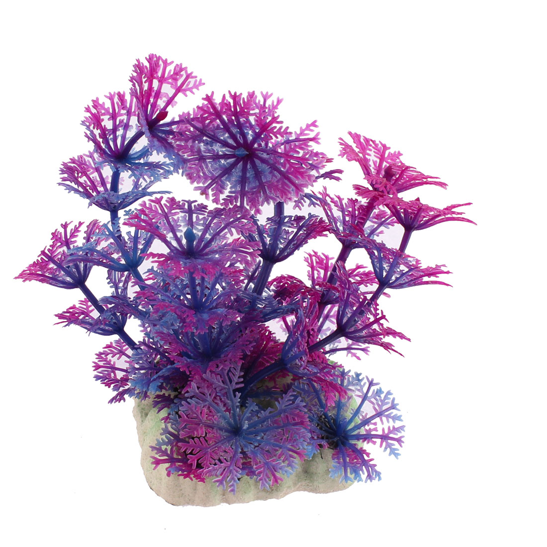 Aquarium Plastic Simulated Grass Plant Decor Purple 9cm Height