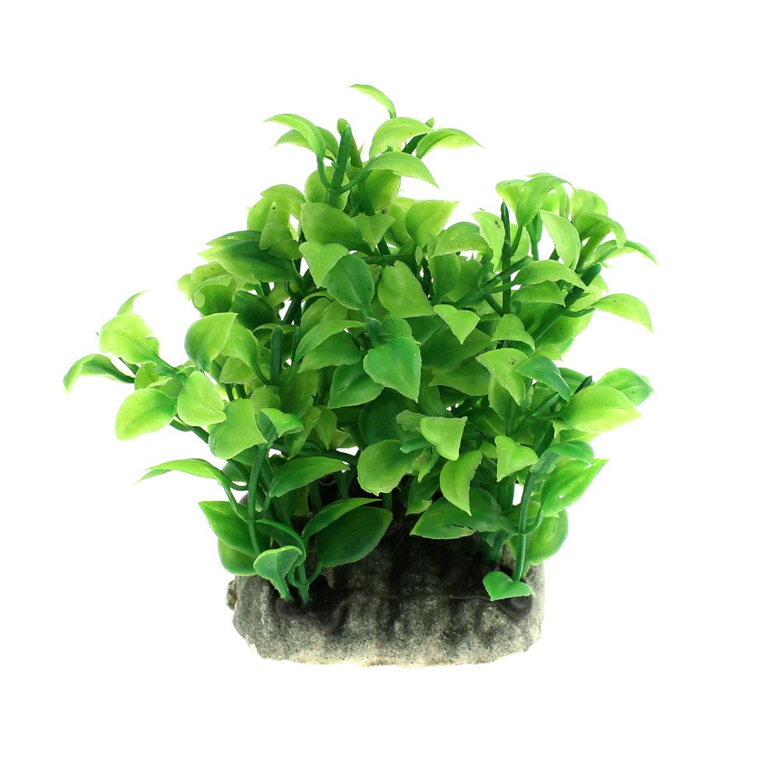 Aquarium Plastic Emulational Water Grass Plant Ornament Green 8cm Height