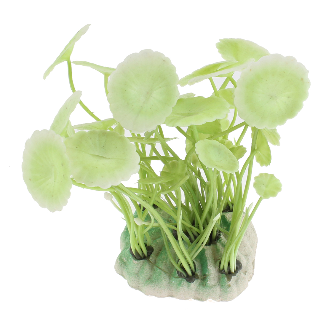 Aquarium Plastic Artificial Round Leaves Plant Ornament