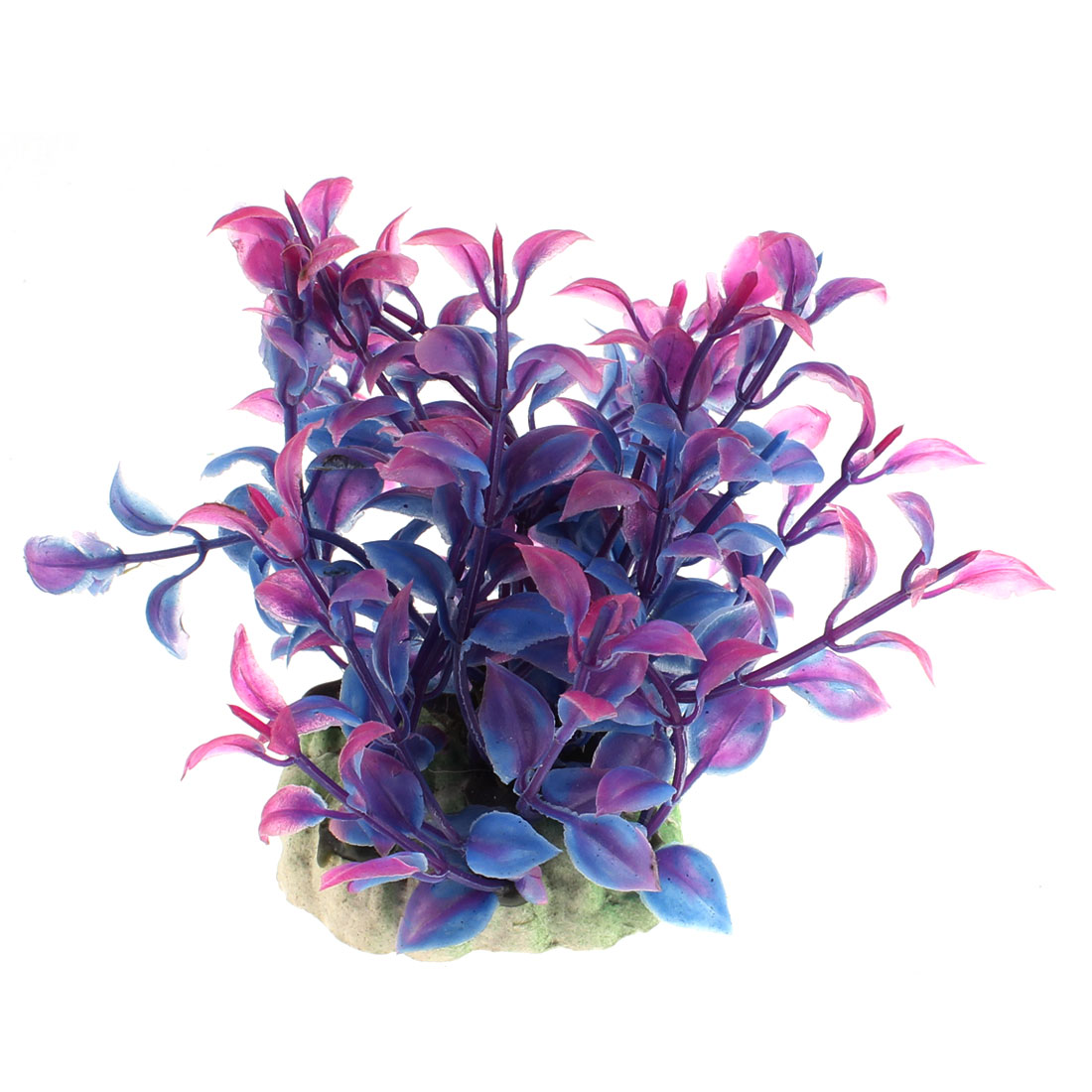 Aquarium Plastic Manmade Aquatic Plant Ornament Blue Purple
