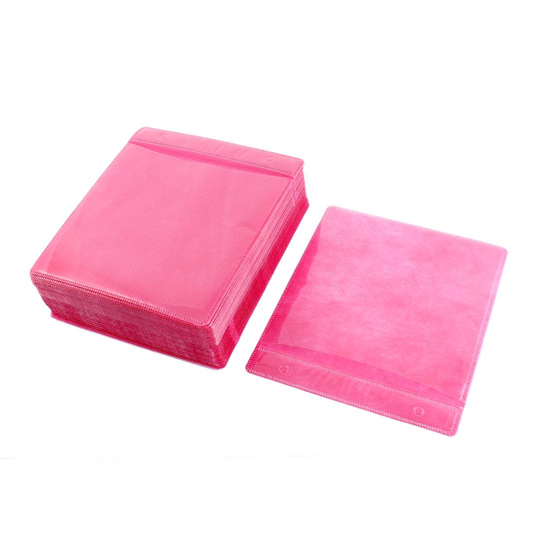 Disc CD DVD Double Sided Storage Holder Sleeve Bags Hot Pink 100 PCS