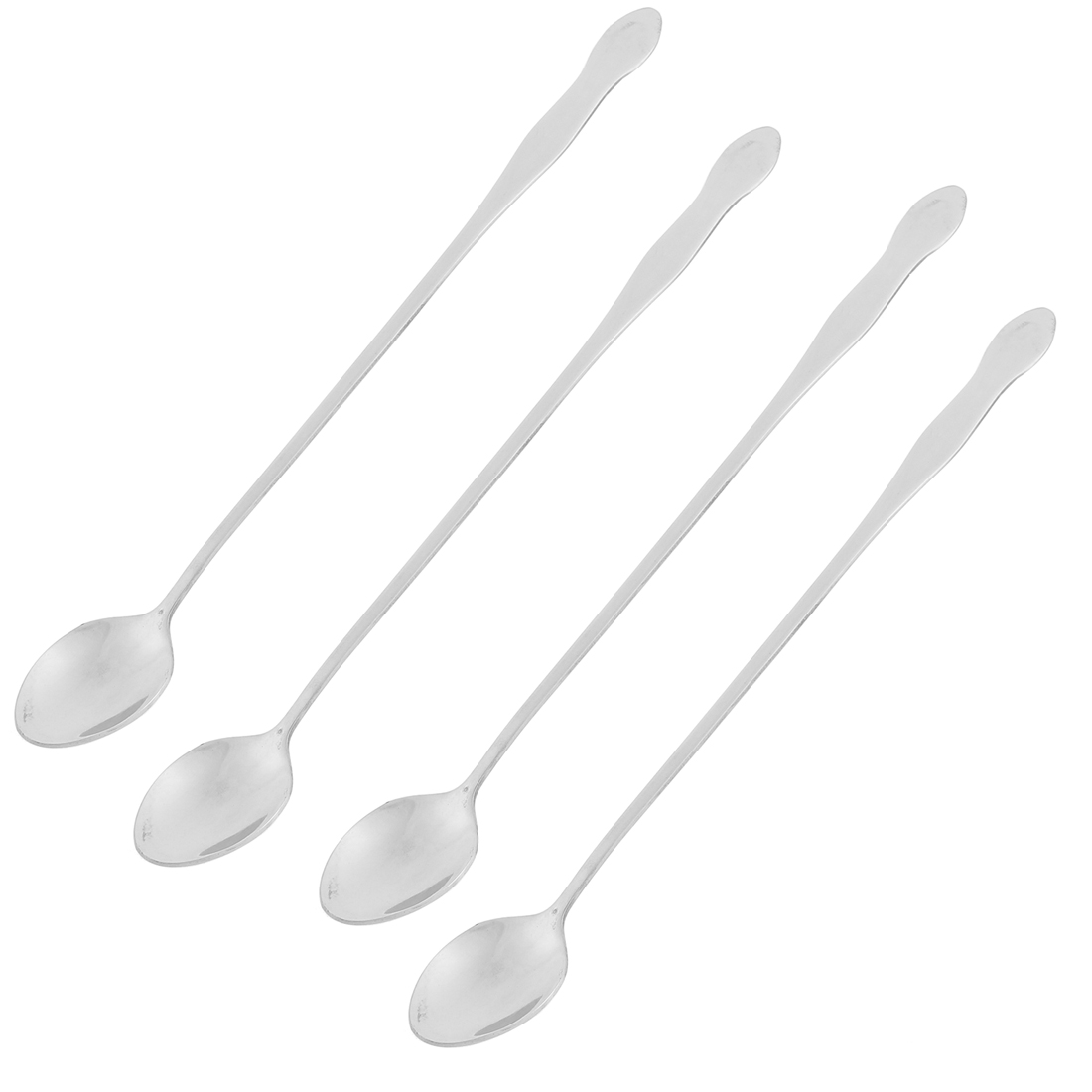 Stainless Steel Long Handle Tea Coffee Ice Cream Spoon Silver Tone 4pcs