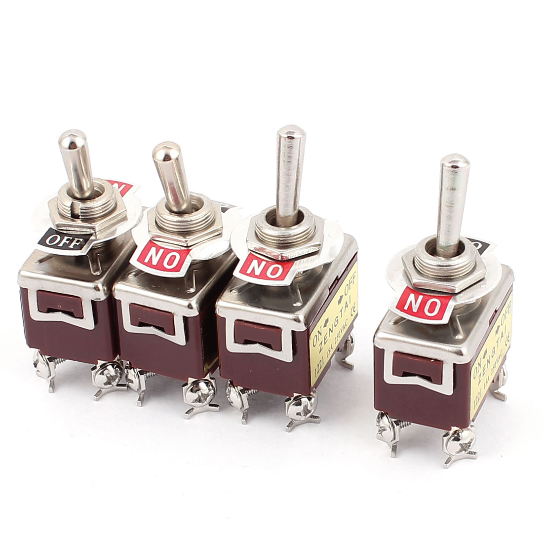 4Pcs AC250V 15A On/Off DPST 4 Screw Terminals Toggle Switch