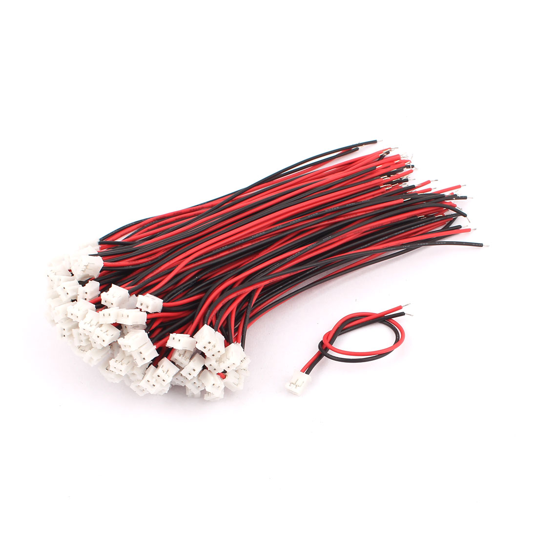100 Pcs Red Black PCB Solder 120mm Tin JST Male to Female Connector Wire