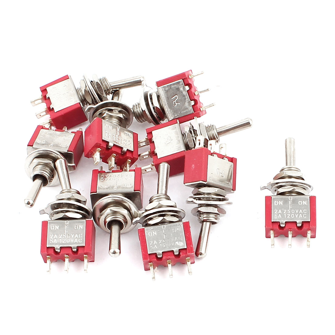 2A250VAC 5A120VAC 10PCS SPDT ON/OFF/ON 3 Pole Electric Toggle Switch Red 6MM