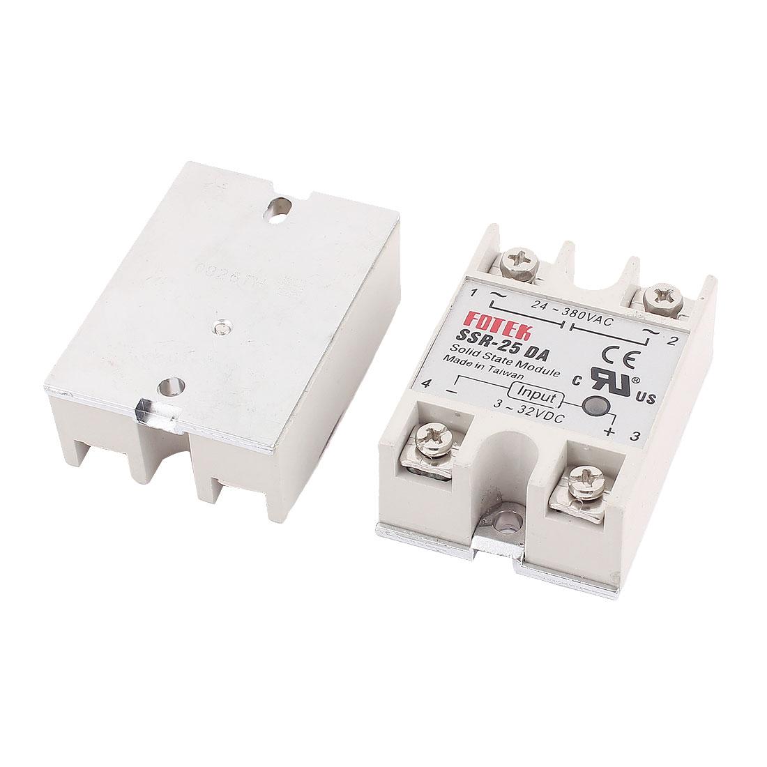 2Pcs Solid State Module SSR-25DA 3-32VDC 24-380VAC for PID Temperature Controller