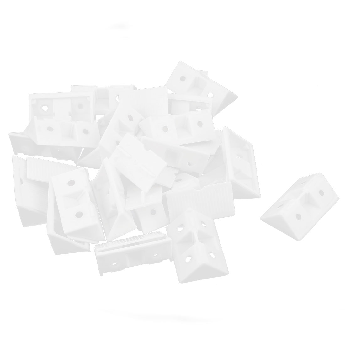 Shelf Door 42mm x 28mm x 15mm 4 Holes Plastic Angle Brackets White 20 Pcs