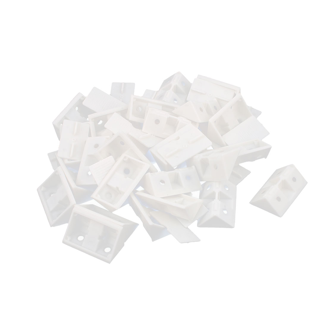 Shelf Door 42mm x 28mm x 15mm 4 Holes Plastic Angle Brackets White 25Pcs