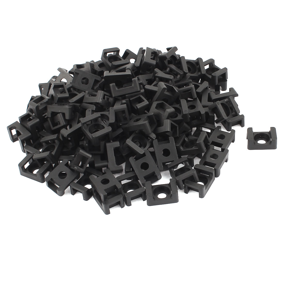 125 Pcs Black Plastic Wire Bundle Cable Tie Mount Saddle Cradle
