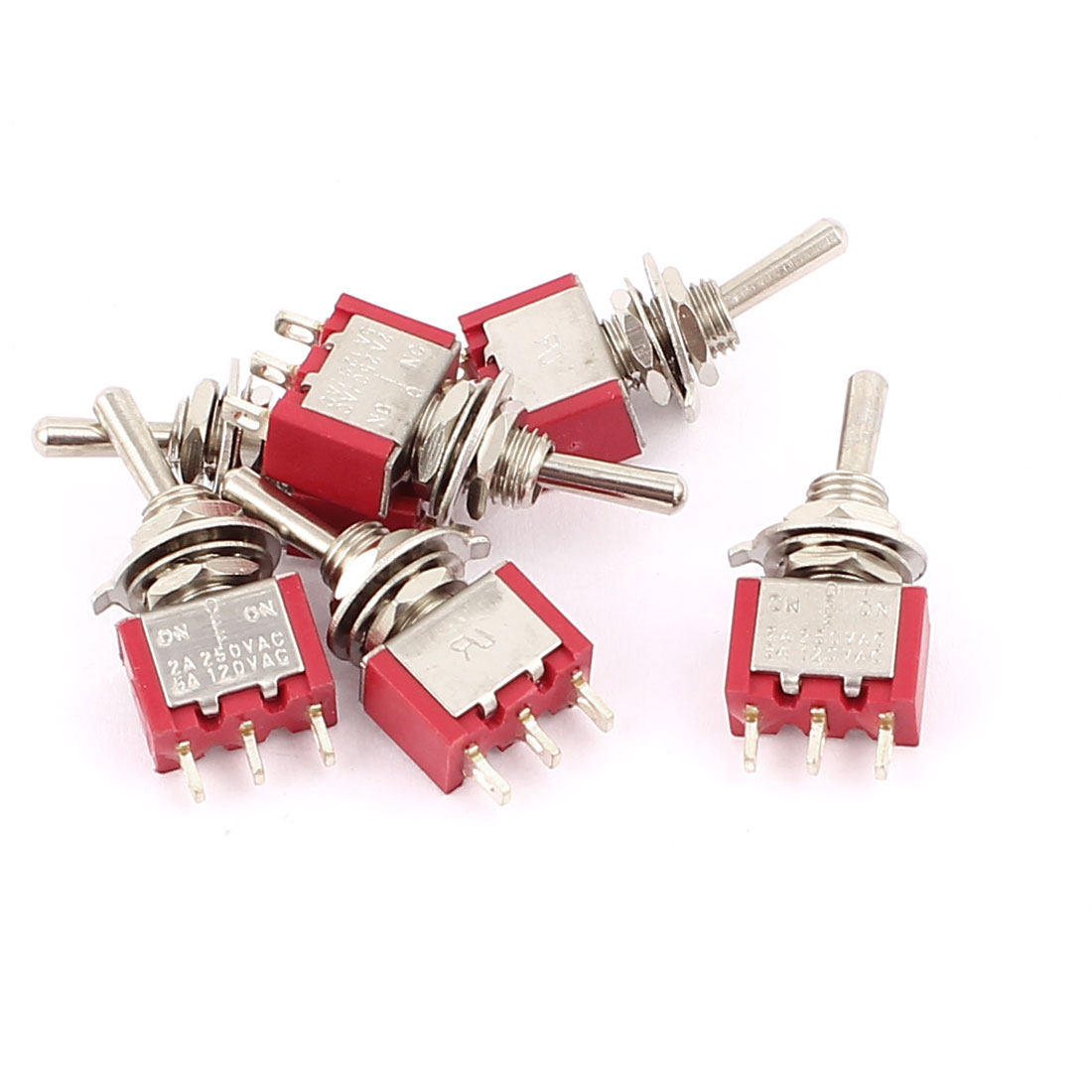 2A250VAC 5A120VAC 6PCS SPDT ON/OFF/ON 3 Position Electric Toggle Switch Red 6MM