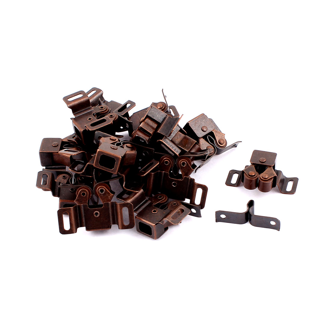 Cabinet Cupboard Door Double Ball Roller Catch Latch Lock Copper Tone 17 Pcs