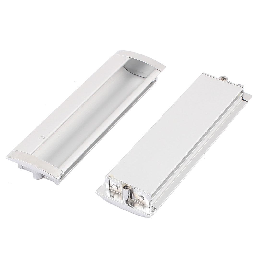 Rectangular Recessed Flush Pulls Drawer Sliding Door Handle Silver Tone 140x43mm