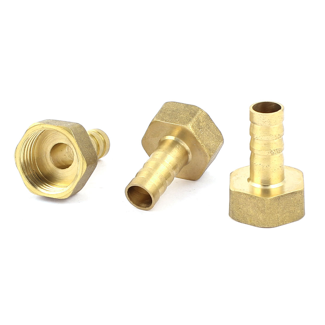 Female Pipe Fitting Straight Hose Barb Adapter Brass Tone 23mm x 33mm 3 Pcs