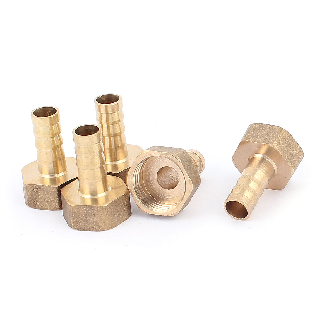 25mm x 33mm Female Hose Barb Adapter Fitting Brass Tone 5 Pcs