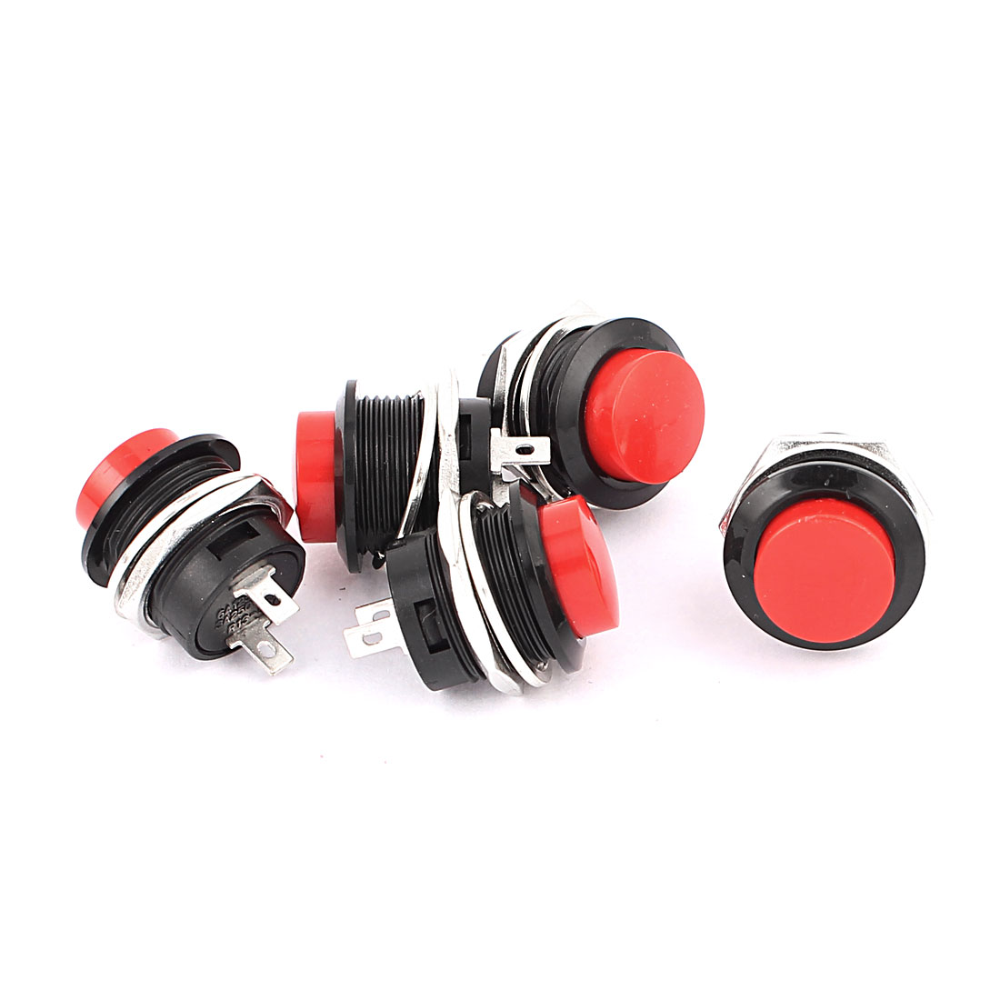 5 Pcs 2 Terminals SPST OFF-(ON) Red Momentary Round Push Button Switch 6A125V.3A250V