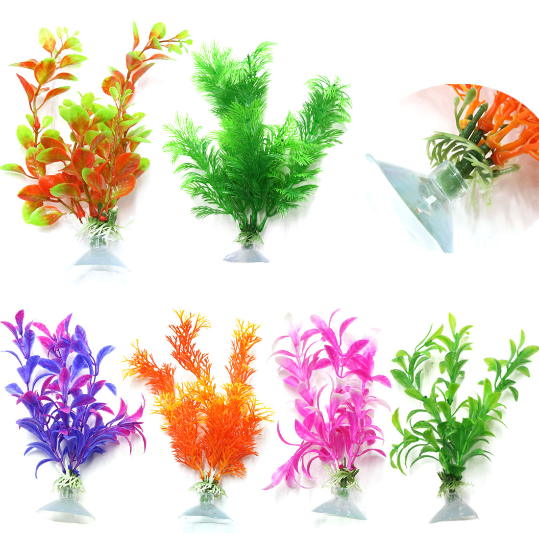 6 pieces Assorted Color Aquarium Plastic Plant Decoration sucker base