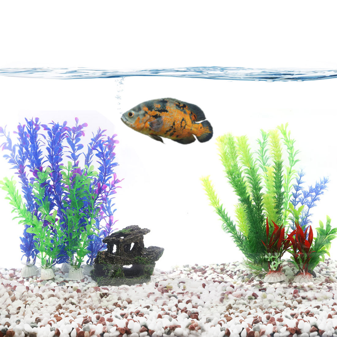 aquascape idea aquarium Artificial decoration plastic plants for Oscar
