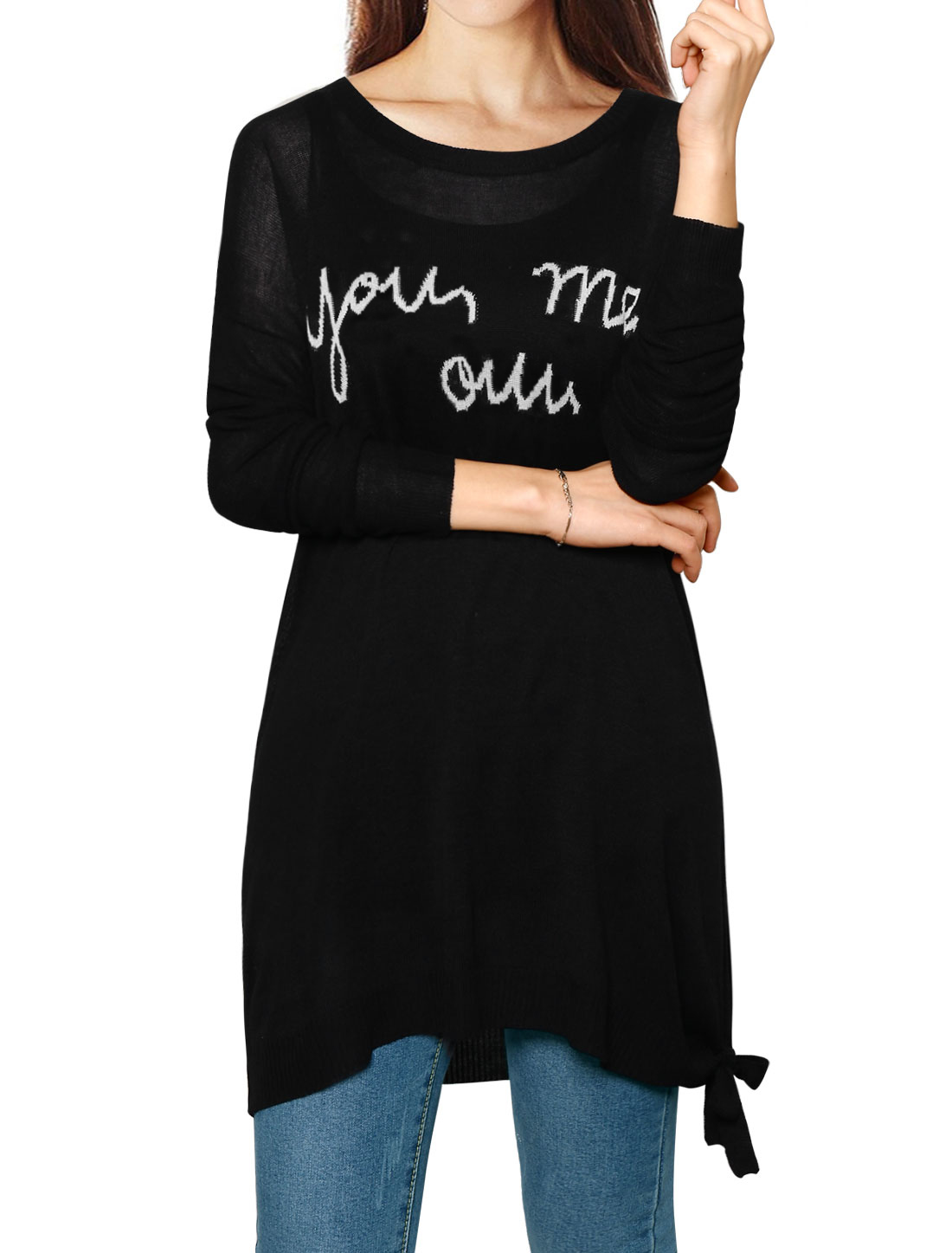 Women Dropped Shoulder Side-Slit Letters Loose Knit Top Black M